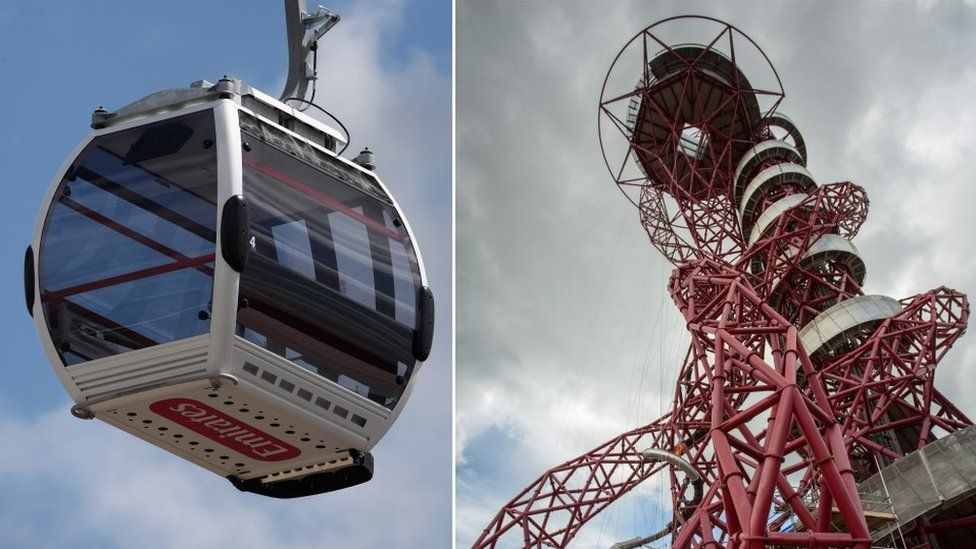 Emirates cable car and Arcelormittal Orbit sculpture