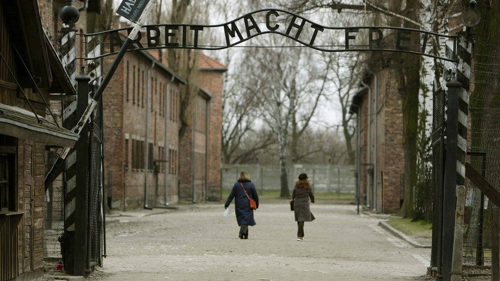 """The gates at Auschwitz I camp, with the infamous inscription """"Arbeit Macht Frei"""" - work will set you free"""
