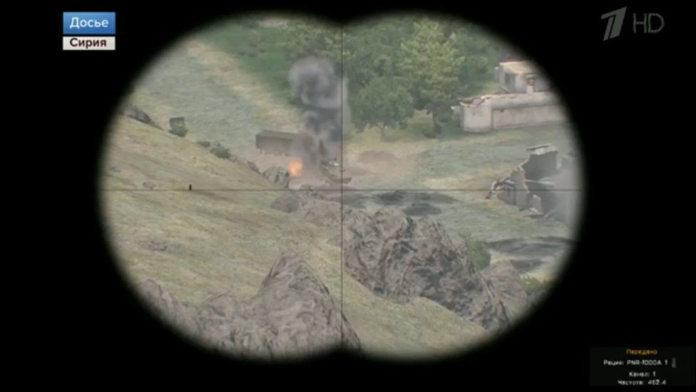 Gun-sight footage from the Arma-3 video game as seen on Russia's Channel One