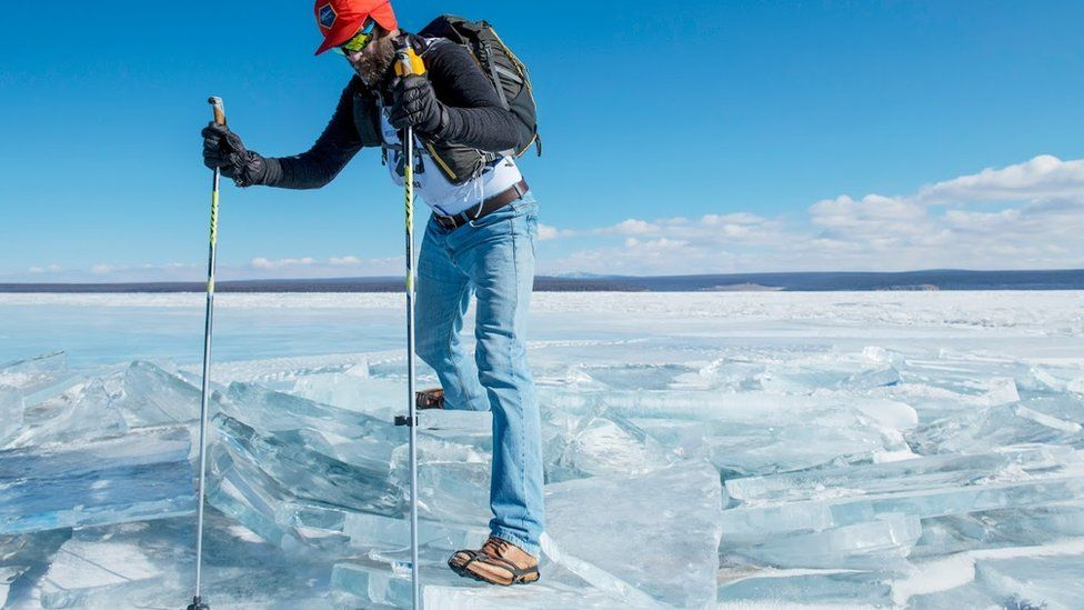 Peter Messervy-Gross crosses the frozen Khövsgöl Nuur lake in Mongolia