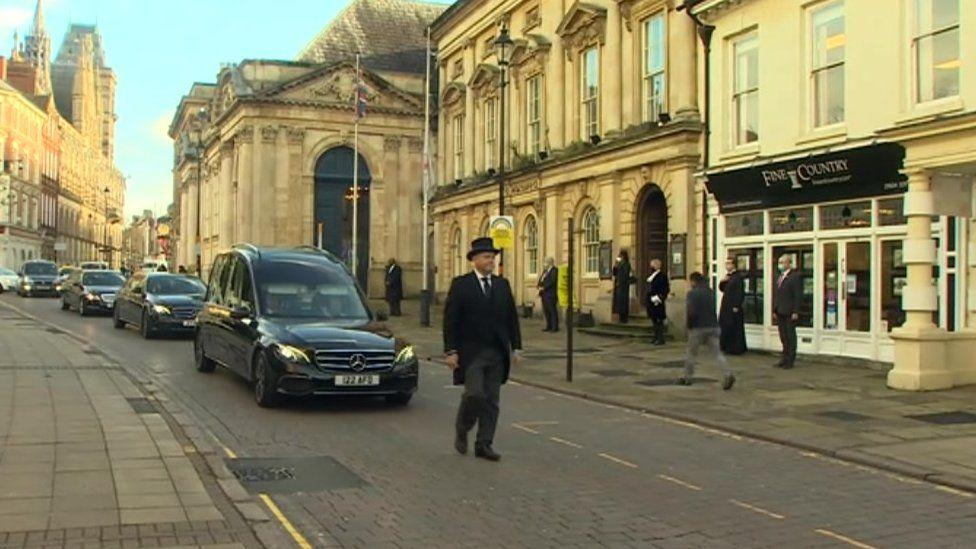 Brian Binley's funeral cortege
