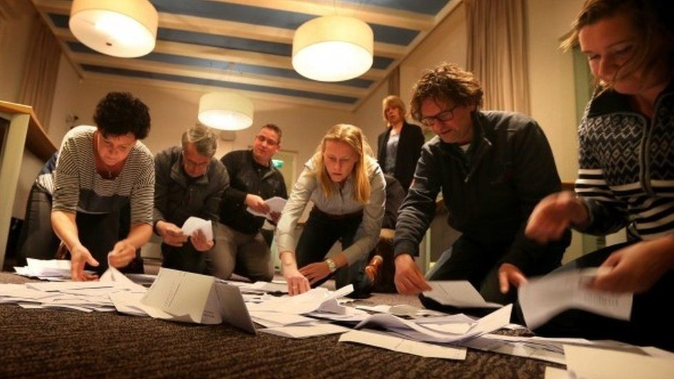 Officials count the votes of the Dutch referendum about the association agreement between the EU and Ukraine, in Schiermonnikoo
