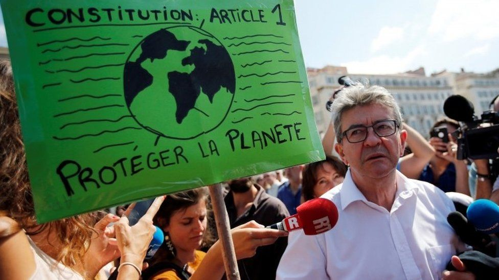 French far-left leader Jean-Luc Melenchon attends a demonstration to urge world leaders to take action against climate change in Marseille, 8 September