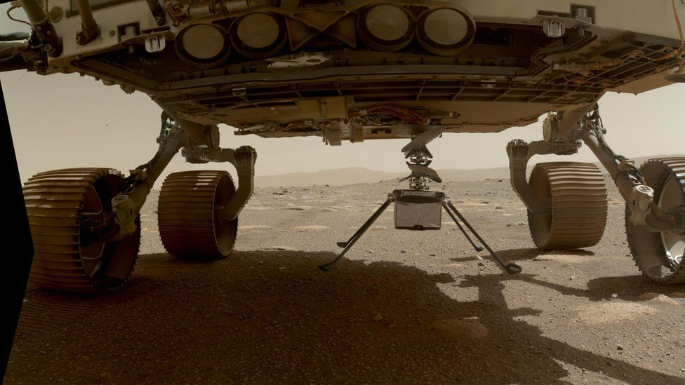 Mars helicopter under the rover