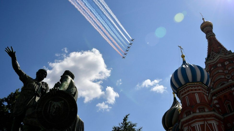 Pilots fly over Red Square for the Victory Day parade