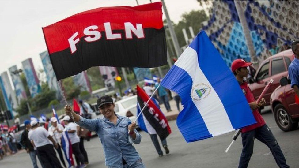 Supporters of the Sandinista National Liberation Front (FSLN) party participate in a rally in Managua, Nicaragua, 09 May 2018.