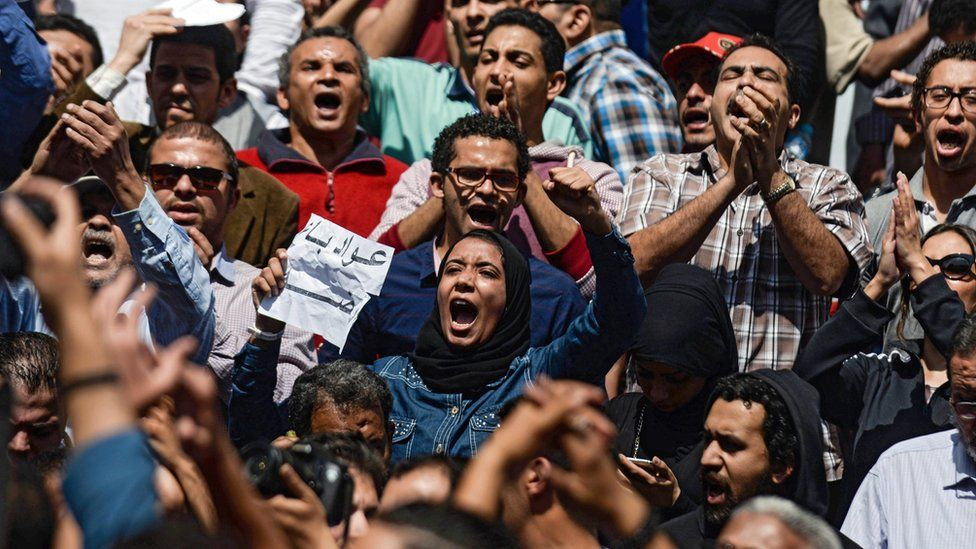 Protest against President Abdul Fattah al-Sisi outside the journalists' union in Cairo on 15 April 2016