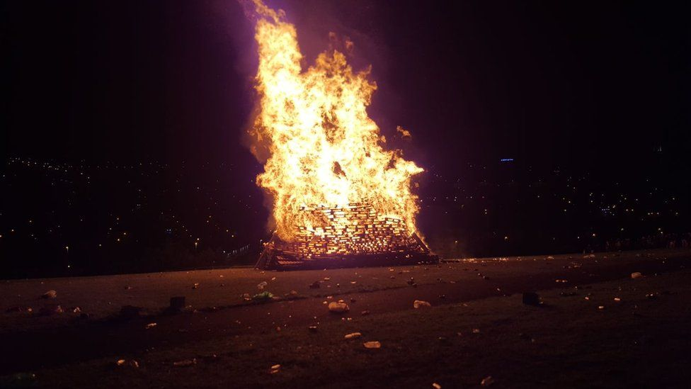 The bonfire near Lecky Road was lit around 23:00 BST on Tuesday