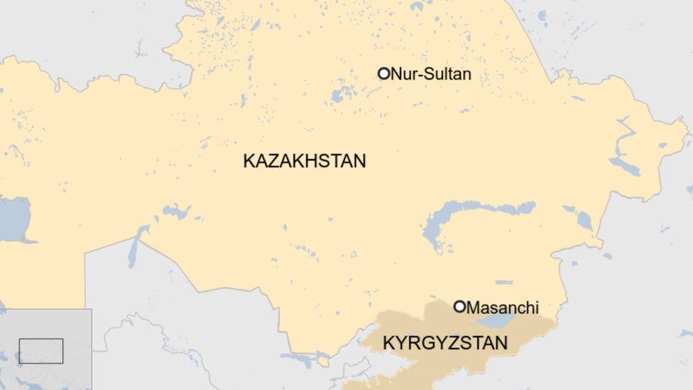 A map showing Masanchi village in southern Kazakhstan