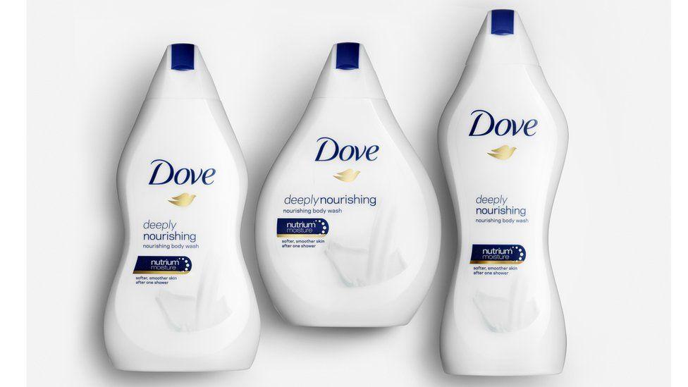 Dove body-shape bottles