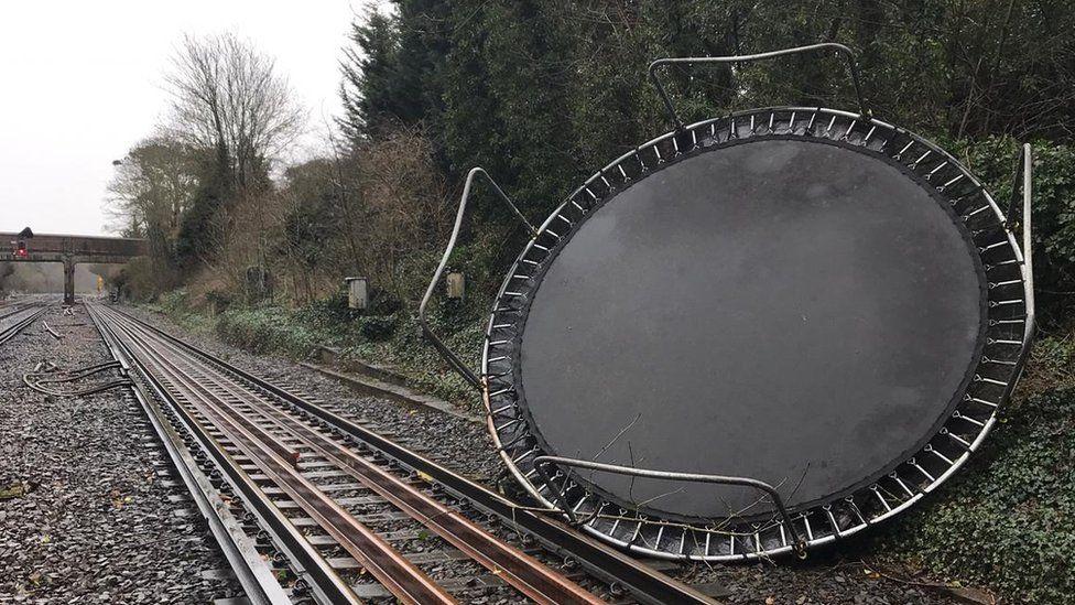Trampoline on train track