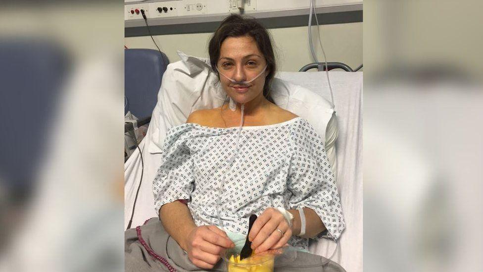 Ellie in hospital, 10 days before her transplant