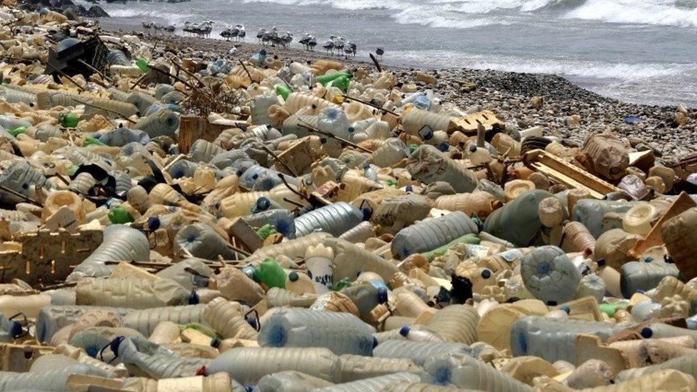 Plastic on a beach near Beirut