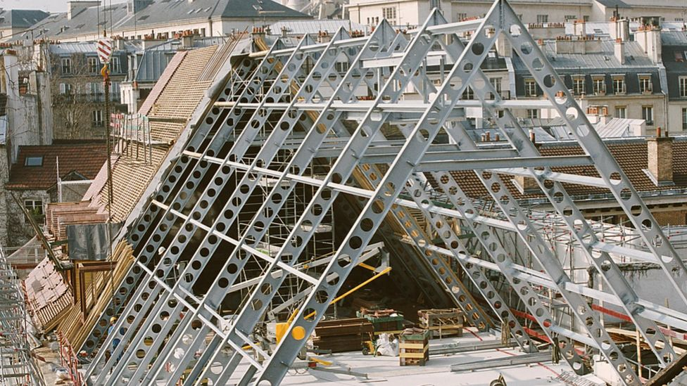 The roof of the gothic religious building, Collège des Bernardins in the midst of a reconstruction effort by Jean-Michel Wilmotte