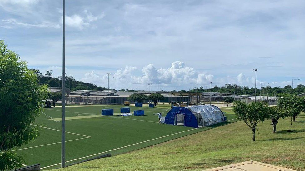 Tents make up a temporary medical field facility on Christmas Island