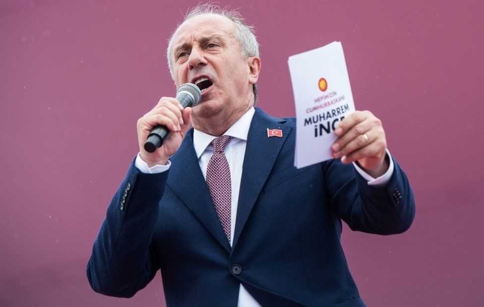 Presidential candidate Muharrem Ince delivers a speech during a rally in Istanbul, on 23 June 2018