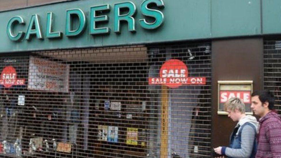 Siop ddiddad Calders yng Nghaerdydd, oedd yn berchen i dad y digrifwr Sacha Baron Cohen