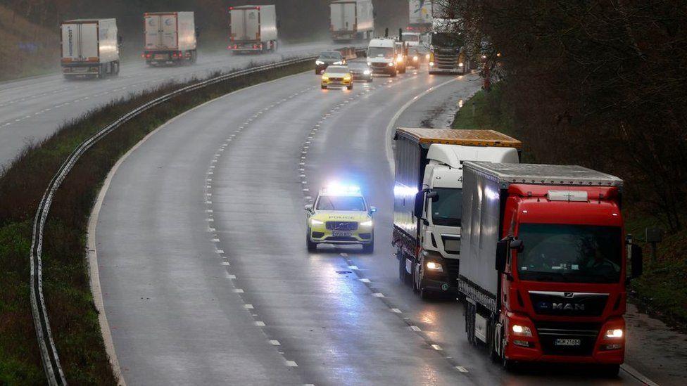 Lorries on motorway uk