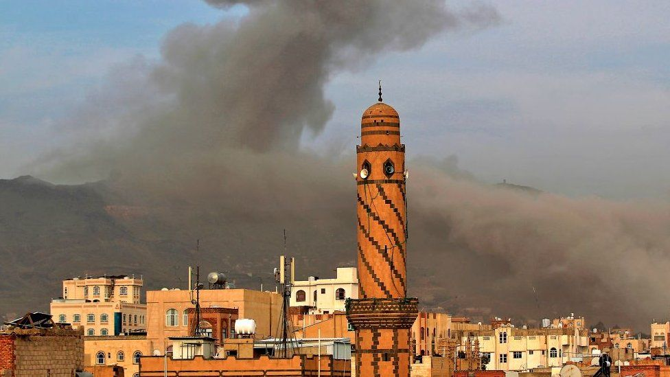 Smoke billows following an airstrike by Saudi-led coalition in the Yemeni capital Sanaa earlier this month