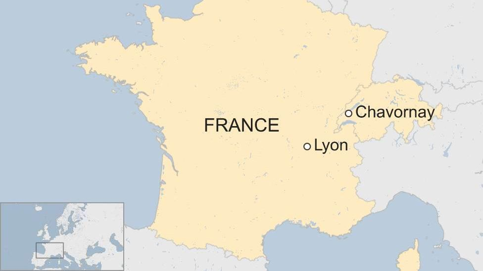 Map of France, Switzerland with Leon and location of Swiss robbery marked