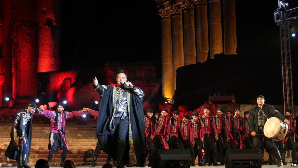 Lebanese singer Assi Hallani performs during the opening of the Baalbek international festival in July 2014