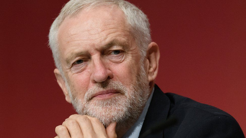 Labour Party leader Jeremy Corbyn listens to speeches on the third day of the Labour Party conference