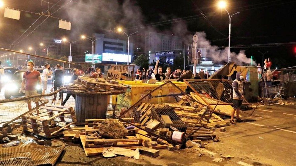 Protesters on a street barricade in Minsk, Belarus. Photo: 11 August 2020