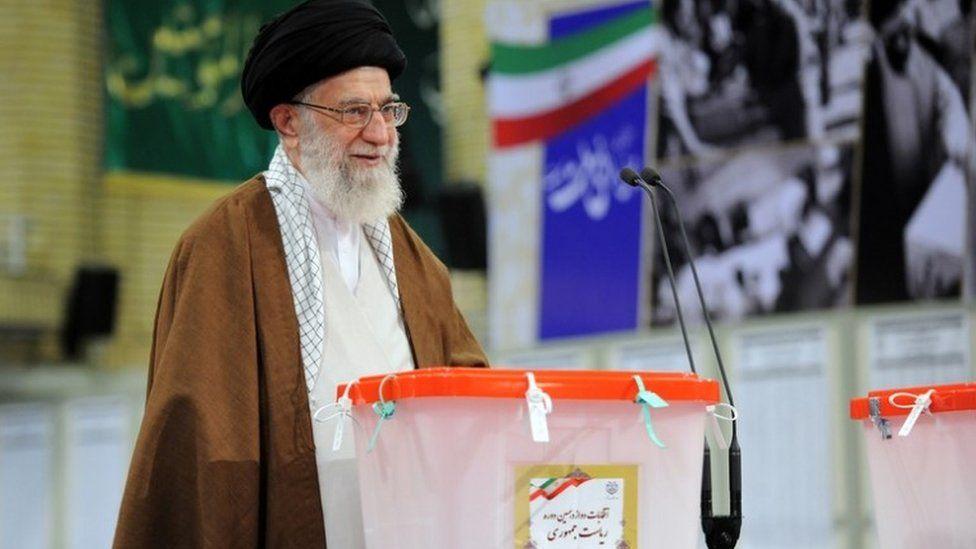 Supreme Leader Ayatollah Ali Khamenei speaks after voting