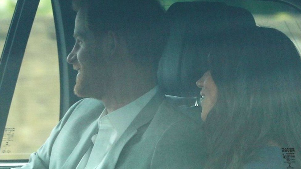 Prince Harry and Meghan Markle arrive at Windsor Castle a day ahead of their wedding,