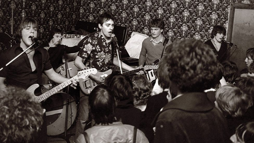 The Freshies, with Chris Sievey centre, on stage in 1979