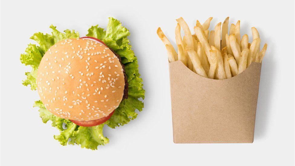 Take-away burger and chips