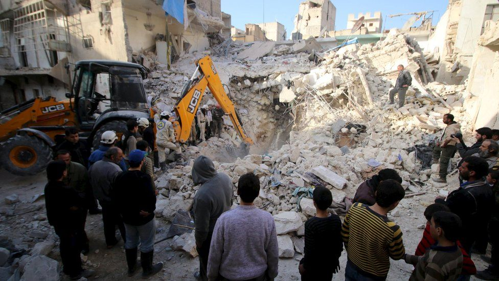 Civil defence members search for survivors after air strikes by in rebel held area of Aleppo, Syria. 14 February 2016.