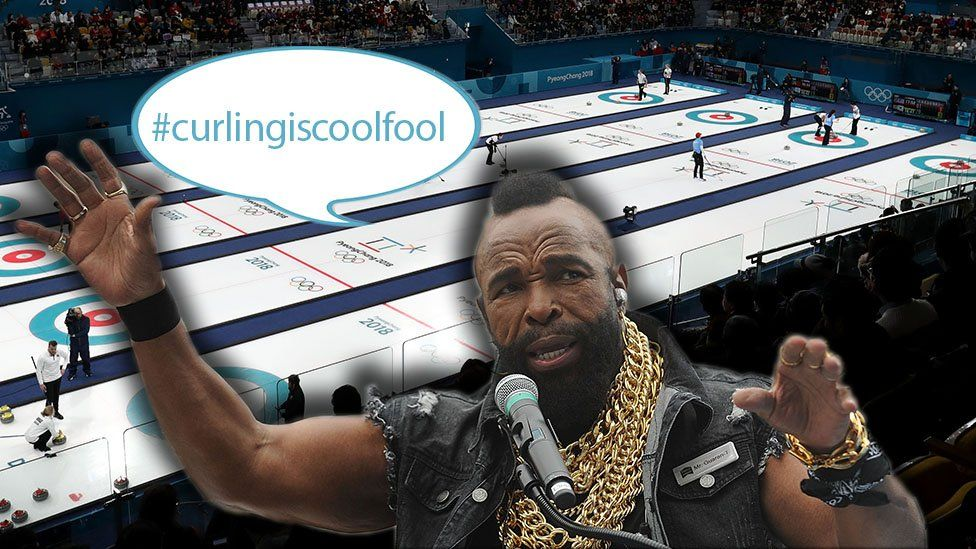 Mr T with curling behind him and a speech bubble