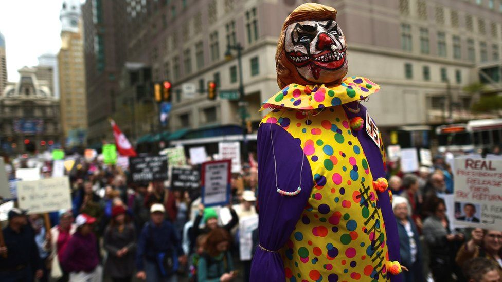 A President Trump clown at the Tax March in Philadelphia