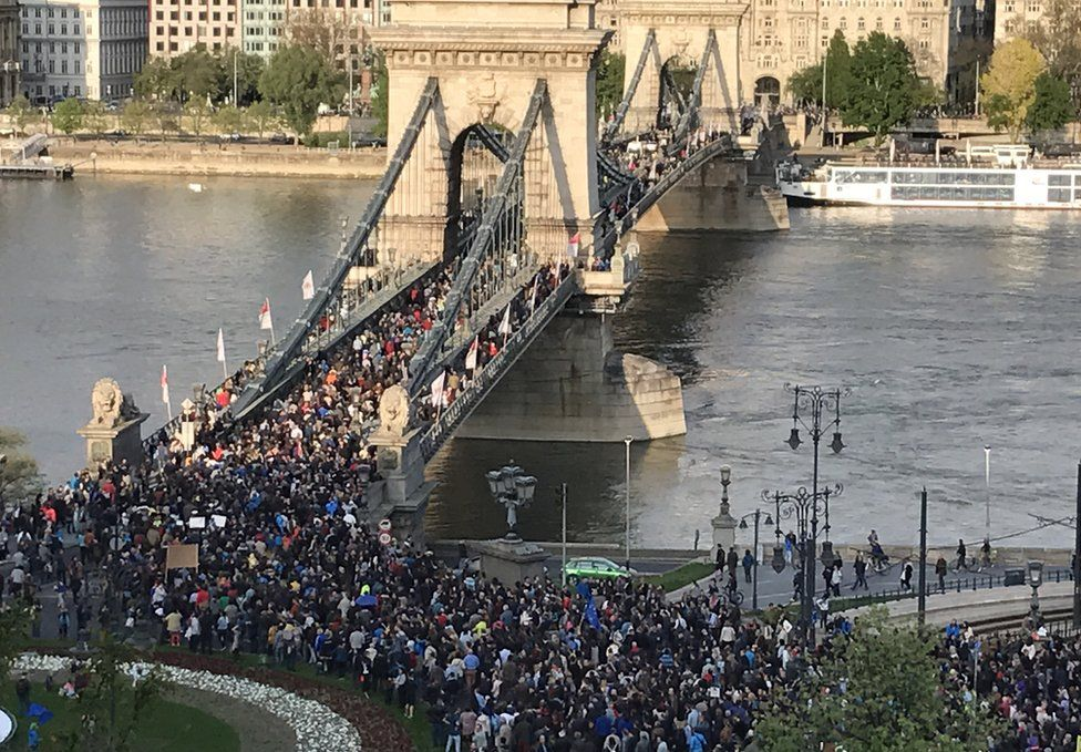 Protest in central Budapest