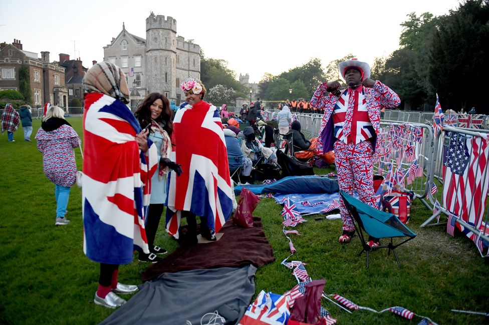 Royal fans on the Long Walk in Windsor ahead of the wedding of Prince Harry and Meghan Markle