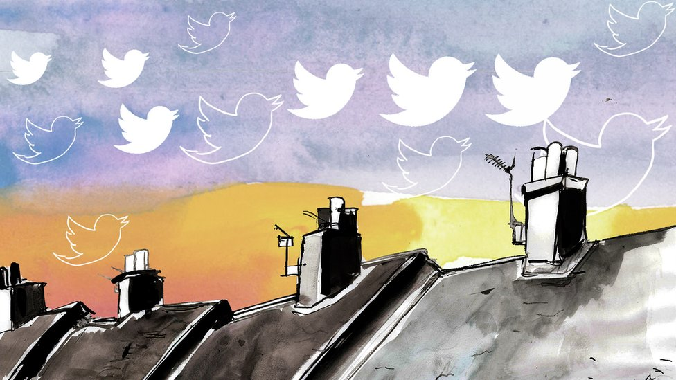 A BBC illustration showing a flock of the birds shaped like the Twitter logo flying over a row of houses