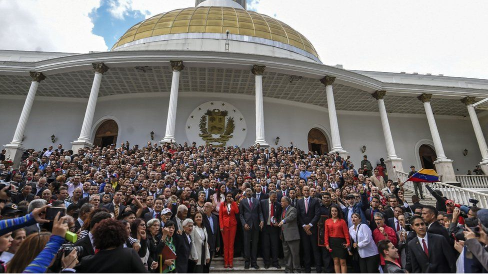 Members of the Constituent Assembly pose outside the National Congress during the Assembly's installation in Caracas on August 4, 2017.