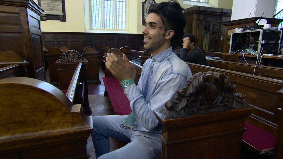 An Iranian Christian in a church