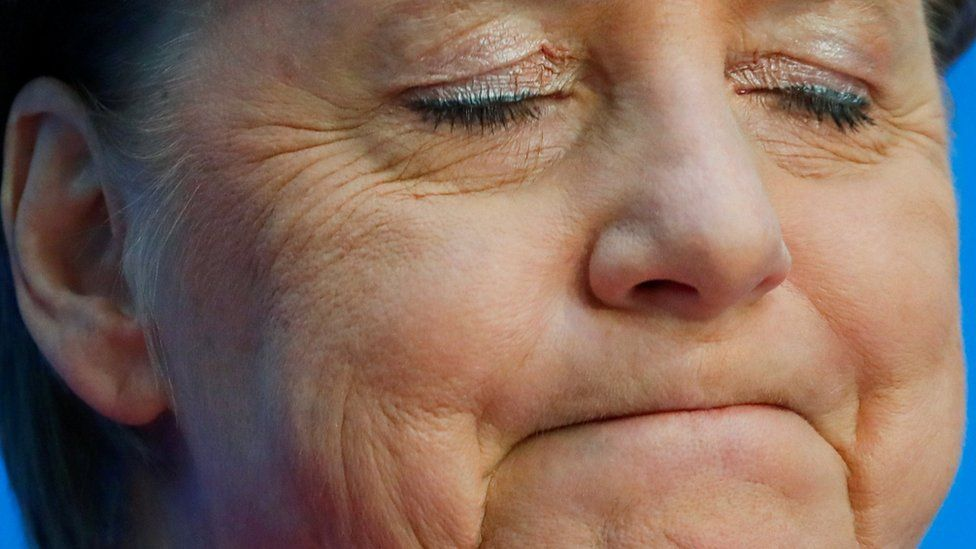 German Chancellor Angela Merkel reacts as she attends a news conference following the Hesse state election in Berlin, Germany, October 29, 2018