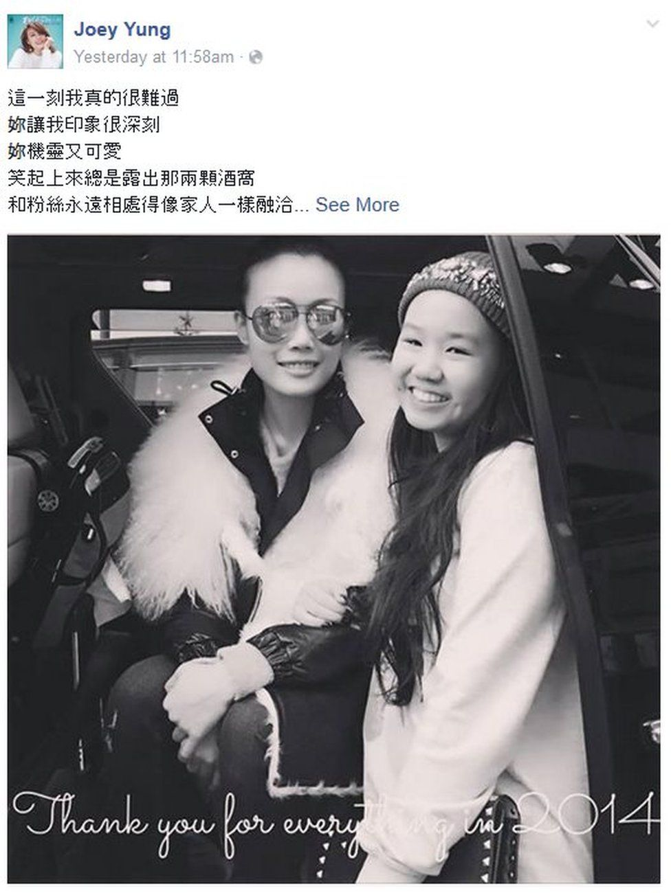 Screenshot of Cantopop singer Joey Yung's Facebook page on 19 August 2015