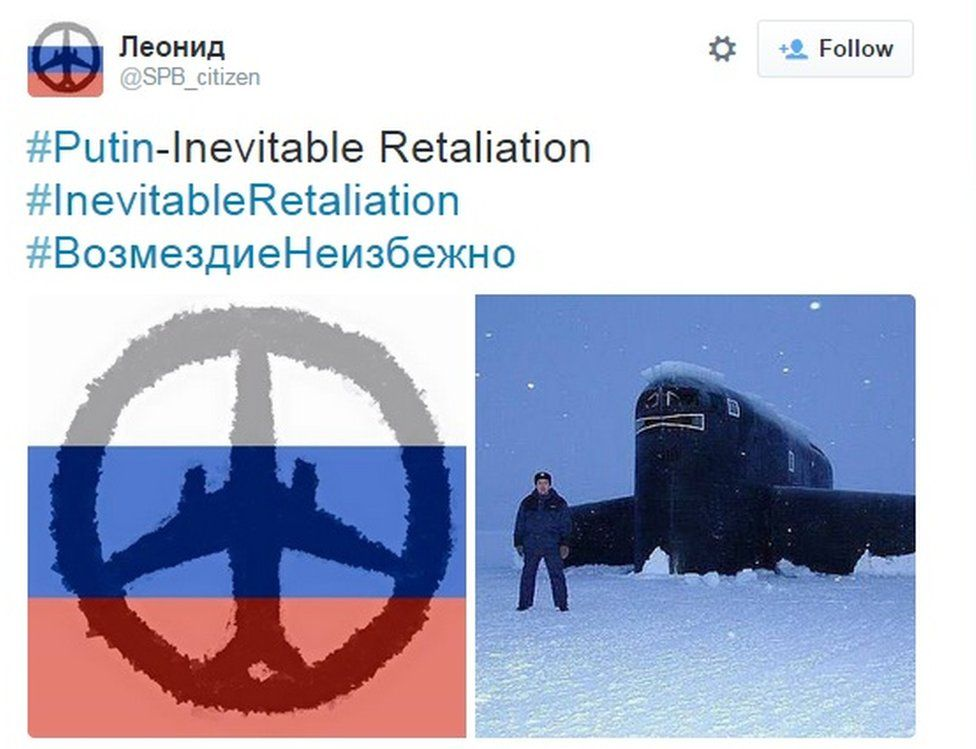 Screen grab of a tweet showing an outline of a plane against the background of a Russian flag, also picture of a man in uniform standing next to a submarine