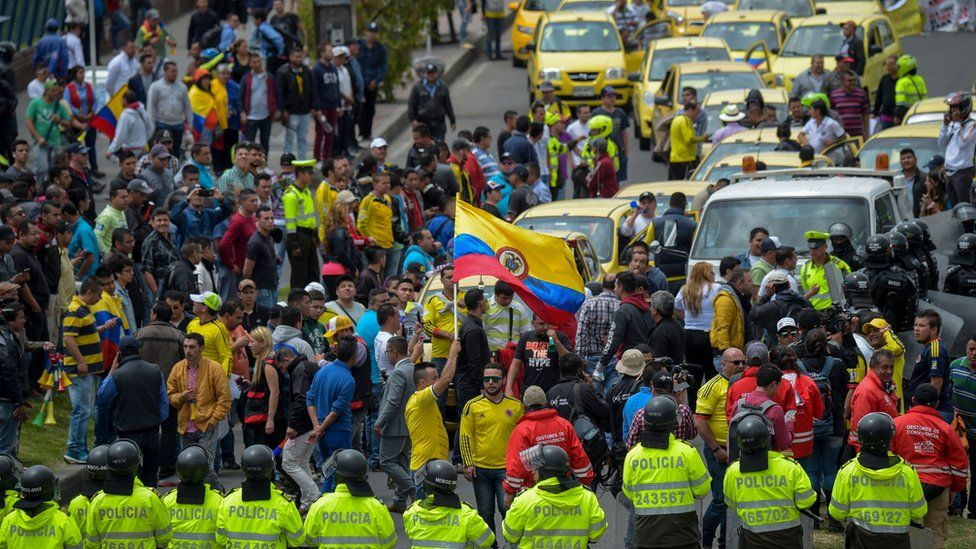 Taxi drivers demonstrate against the private hire company Uber in Bogota, on October 23, 2017