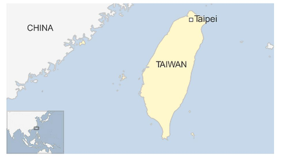 Map of Taiwan and China