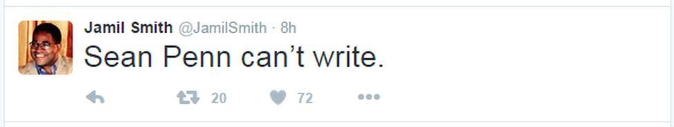 """A tweet reads: """"Sean Penn can't write"""""""