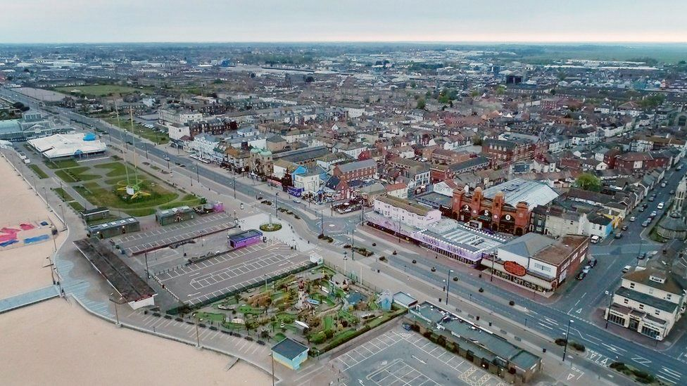 Drone shot of Great Yarmouth's 'golden mile'