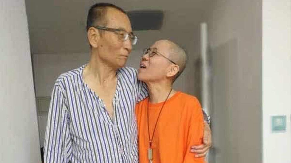 An undated handout photo made available through the twitter account of Guangzhou-based activist Ye Du, shows Chinese dissident Liu Xiaobo (L) with his wife Liu Xia, at an undisclosed location.