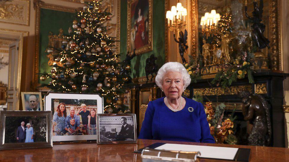 Queen Elizabeth II records her annual Christmas broadcast in Windsor Castle, Berkshire.