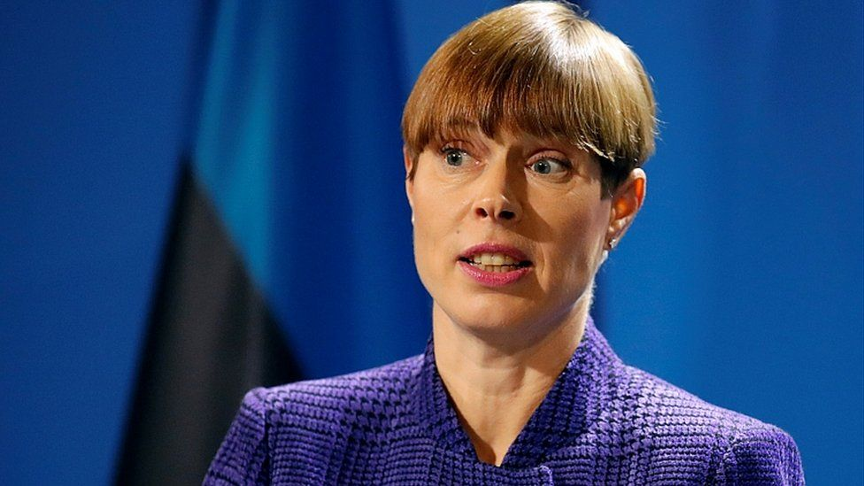 Estonian President Kersti Kaljulaid in Berlin, Germany October 8, 2019