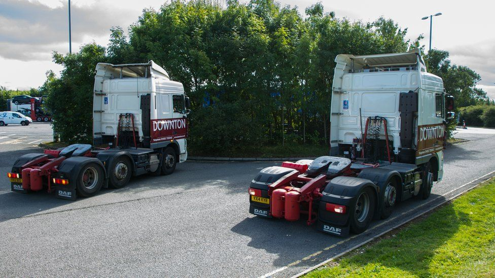 Two HGV cabs without trailers